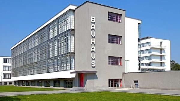General view of the Bauhaus Dessau with the famous logo BAUHAUS, designed by the german designer Herbert Bayer.