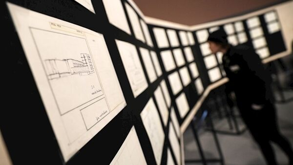 A visitor looks at sketches for a Bauhaus book by Swiss architect Hannes Meyer as part of the exhibition 'Bauhaus Imaginista' in Berlin, Germany, 17 March 2019. EPA/FELIPE TRUEBA.
