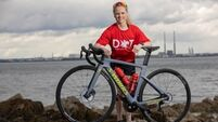 On the treble: Triathlete Carolyn Hayes goes flat out to win a place in the Olympics