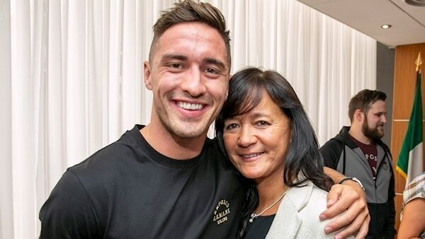 Love Island winner Greg O'Shea with his mum Carol at Shannon Airport. Picture: Arthur Ellis Photography