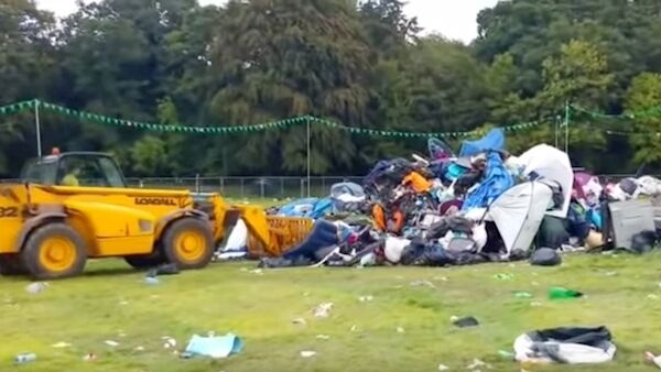 The tents, rubbish, and belongings willingly left behind at EP are bulldozed in the clean-up effort