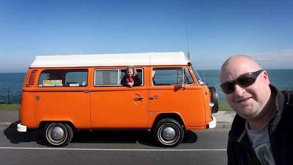 Julian Swann with his daughter Clara, 7, and their 1978 VW Combi at Vantastical. Picture: Nick Bradshaw