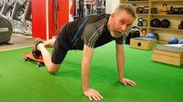Reach for the sky:  Pat Fitzpatrick hits the gym ahead of his next mountain challenge
