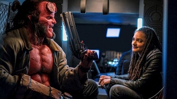 David Harbour as Hellboy and Sasha Lane as Alice Monaghan. Credit: PA Photo/Lionsgate Films/Mark Rogers.