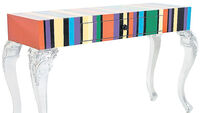 Stripy console table and eye-catching piece