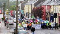 Town blocked in protest over road