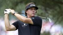 Mickelson lands lead as Merion proves real test