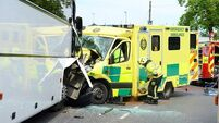 Man fights for life after crashing stolen ambulance