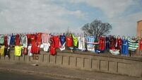 Liam Whelan bridge covered with jerseys in touching tribute