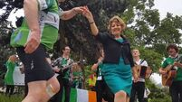 Dancing in the street as Seo Linn and ambassador hail cyclists with Irish Roar