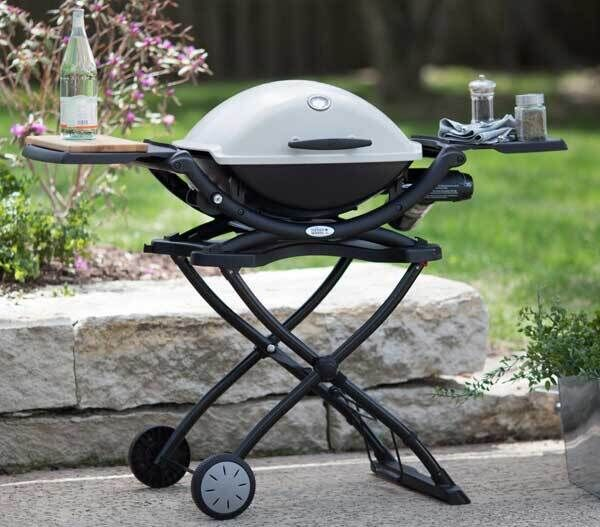 Weber are already famed for their light, colourful and completely portables gas BBQs, but here their signature pod look takes to a stand with wheels and handy serving shelves, Q2000, €499.