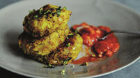 Aloo Tikki Potato Fritters with Sizzled Tomatoes