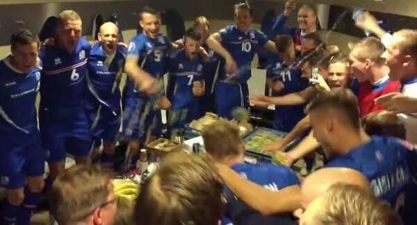 Iceland's players celebrate their shock win over the Netherlands in Euro 2016 qualifying.