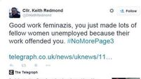 Fine Gael councillor Keith Redmond apologises for Page 3 'feminazis' tweet