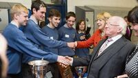 'Snowball' President Michael D Higgins goes back to his old school in Ennis