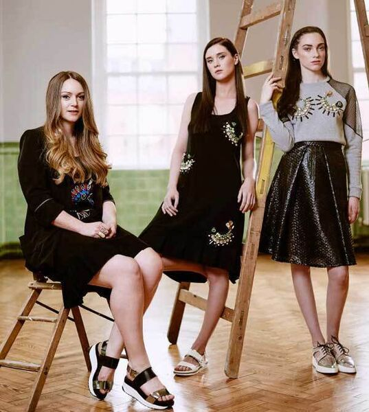 L-R: Jill wears Jill de Búrca embroidered dress, price on application; Defined sandals, €118, Buffalo. Caroline wears Jill de Búrca embellished dress, €725; sandals, €70, Buffalo. Hannah wears Jill de Búrca embellished sweatshirt, €320, and embroidered skirt, €260; SixtySeven shoes, €88, Buffalo.