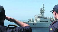 Irish naval ships salute in mission handover