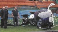 VIDEO: Lucky escape as helicopter crashes into pub