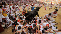 One person gored twice in Pamplona bull run