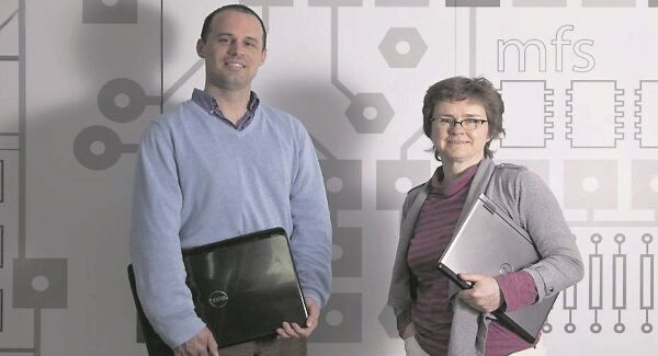 David Garry, chief technology officer of Nomos Software, and Tricia Balfe, CEO, Nomos Software, at their offices Rubicon Centre, CIT Cork city