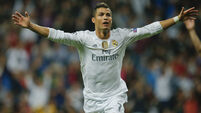 Treble for Cristiano Ronaldo as Real Madrid rout 10-man Shakhtar
