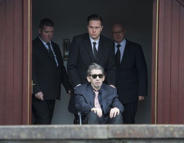 Shane MacGowan leaves the church after requiem mass for his mother Therese MacGowan.