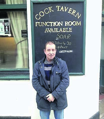 Martin Kerley outside the Cock Tavern Pub in Somers Town
