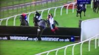 VIDEO: Watch a jockey fall from a horse and somersault over the final fence