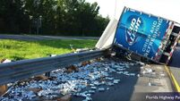 VIDEO: Beer truck spills thousands of cans on US highway