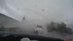 This dashcam footage of a typhoon swallowing a car is terrifying