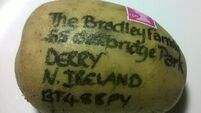 Potato 'parcel' posted from Birmingham to Derry after spud-themed wedding