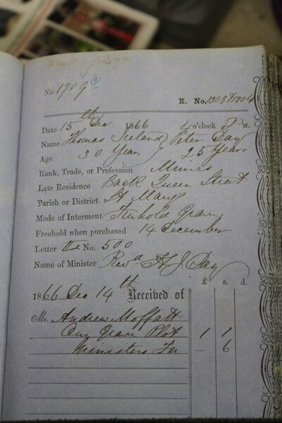 The burial order book entry in Barnsley Cemetery of Cork-born Thomas Hiland or Thomas Ireland, killed in the 1866 Oaks Colliery disaster. Picture: Barnsley Archives and Local Studies.