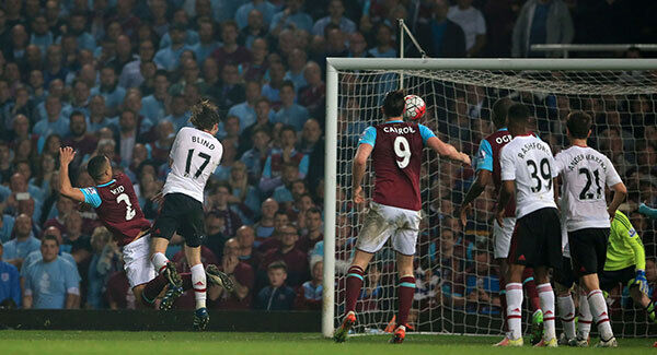 Winston Reid scores the winning goal at Upton Park. Photo: Nick Potts/PA