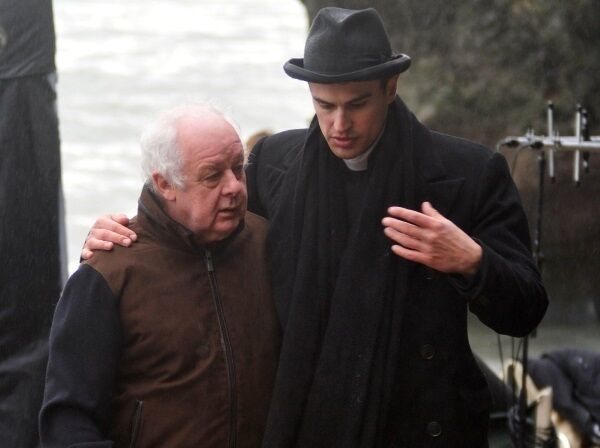 Jim Sheridan with Theo James on the set of The Secret Scripture.