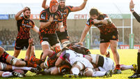 Exeter Chiefs players celebrate as Kai Horstmann scores the opening try 24/1/2016