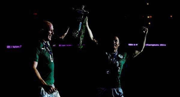 5 March 2014; Paul O'Connell, left, and Brian O'Driscoll celebrate with the RBS Six Nations trophy in the Stade De France, Paris. Picture: Stephen McCarthy/SPORTSFILE