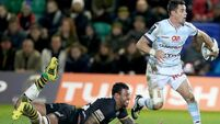 Dan Carter offloads in a tackle from Courtney Lawes 18/12/2015