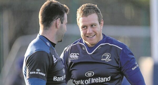 UP FOR IT? Leinster's Sean Cronin, right, talking with Fergus McFadden, ahead oftomorrow's crucial Pro12game at Thomond Park. Picture Seb Daly/ Sportsfile