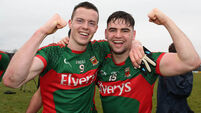 Stephen Coen and Fionan Duffy celebrate after the game 2/4/2016