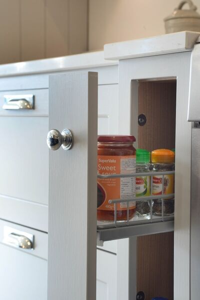 Slide-forward units designed into simple slabs means no more thrashing around at the back of a cabinet. For corners and where volumes exceed floor space, look for rotating pull outs that deliver shelves in an effortless arc from distant fathoms of the base of double-height units. (Lyndale pull-out unit from Cash and Carry kitchens, price dependent on kitchen and run, but starting as low as 5,000