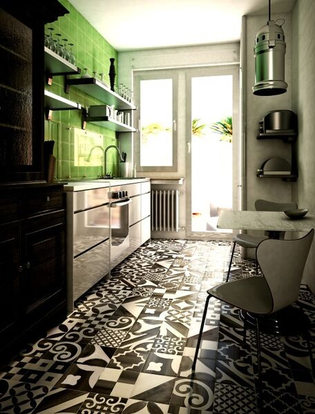 A neutral kitchen does not mean a colourless one - and the floor and walls can do all the talking in pattern and palette. This strong Nero tile from Tile Style is balanced by a lime green feature wall and the generous pull of light from a French door, making a small space rock. POA, Tilestyle.ie
