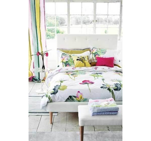 Luxury sheets and pillowcases from Designers Guild are finished with floral embroidery in pink and heather tones, with a 200 thread count for added silky comfort (from €120 for duvet covers, €30 for pillow case sets at Ken Jackson Interiors, Paul & Co and Objekt).