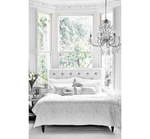 Gleaming white bed linen gets a touch of bling from Julien Macdonald for Debenhams (double duvet set €112.50, cushions from €37.50).