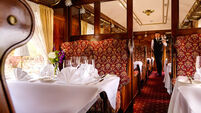 Dining in original carriages from the Orient Express at the Glenlo Abbey Hotel is simply magnificent