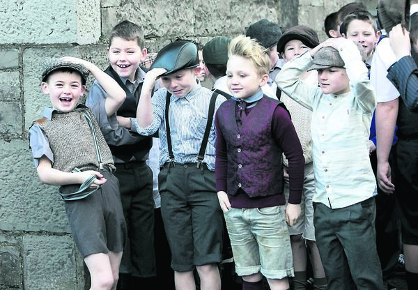Students from St Patrick's National School in Limerick who elebrated the centenary of the school yesterday by dressing up in 1916 costume and re-enacting a walk that took place a hundred years earlier from their old school building to their present dwelling on the Dublin Road. Brian Gavin/Press 22