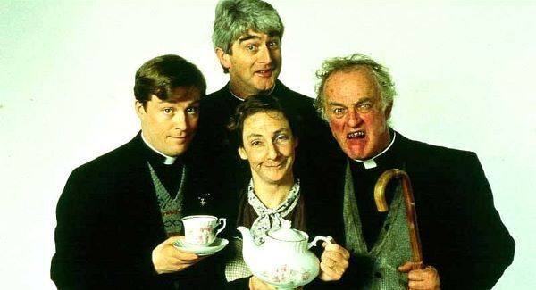 Frank Kelly (right) as Father Jack with the Father Ted cast.