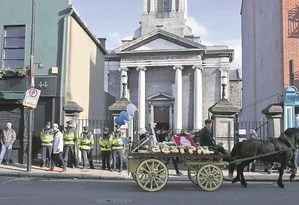 Gardaí at the funeral of David Byrne at St Nicolas of Myra Church, on Francis Street, Dublin 8. Mr Byrne was shot dead in the Regency Hotel on Friday, February 5.