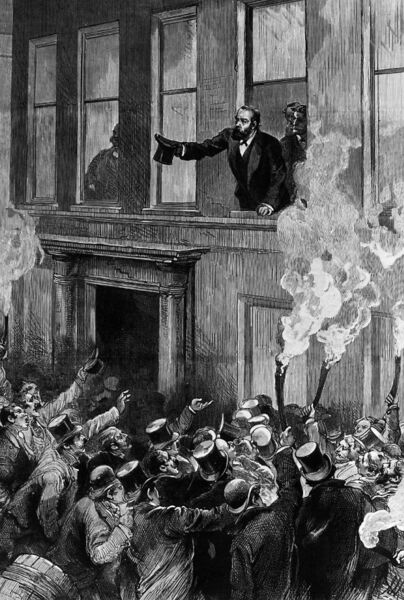 Charles Stewart Parnell addressing his constituents from a window of the Victoria Hotel in Cork in December 1890. Picture: HultonArchive/Illustrated London News/Getty Images