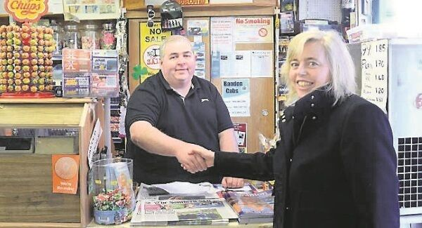 Shopkeeper Robert Fitzpatrick in North Main St, Bandon, Co Cork, is promising his vote to Gillian Powell. Picture: Denis Scannell