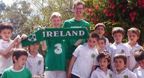Billy and Darragh Lynch flying the Irish flag in rugby-mad Buenos Aires Christian Brothers school.